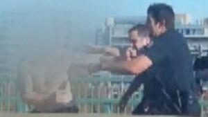 Cambie Street Bridge police takedown video still
