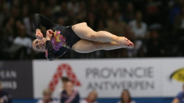 Canada's Victoria Moors competes in the floor exercise during an all-around final at the Artistic Gymnastics World Championships in Antwerp, Belgium, Friday, Oct. 4, 2013.