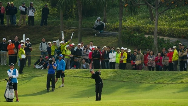 Suzann Pettersen hits an approach shot at Sunrise Golf & Country Club in Yangmei, Taiwan, on Friday.