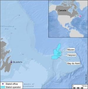Statoil Canada Bay du Nord Harpoon Mizzen Flemish Pass map PRNewsFoto