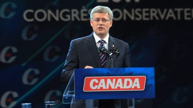 The Senate scandal hangs over the Conservative Party as its members meet for the biannual convention in Calgary today. Above, Prime Minister Stephen Harper delivers his keynote address at the last Conservative convention in Ottawa in June 2011.