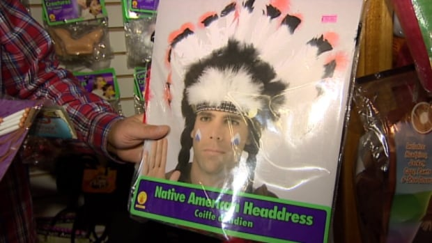 "A ""Native American Headdress"" is among the many Halloween costume offerings at Gags Unlimited in Winnipeg."
