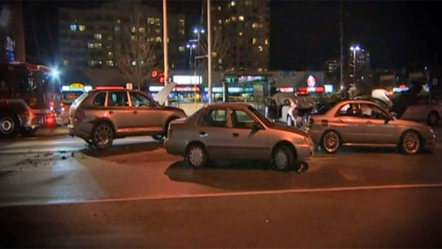 A 17-car collision occurred just after 6 p.m. at the intersection of Dundas Street West and Hurontario, sending at least six people to hospital.