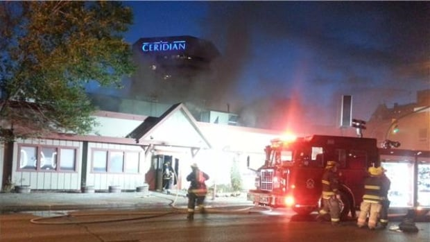 Fire crews were fighting a blaze at Smith Street and York Avenue in downtown Winnipeg this morning.