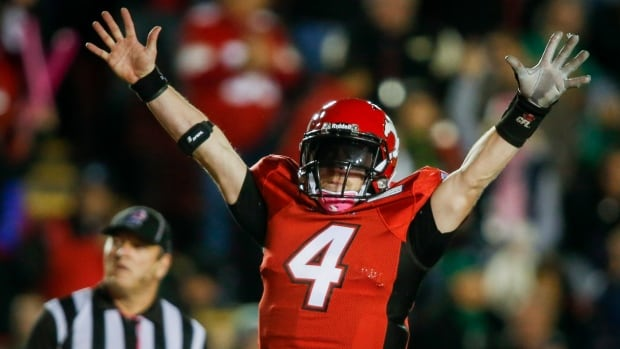 Calgary Stampeders quarterback Drew Tate, celebrates the game winning touchdown against the Saskatchewan Roughriders on Saturday.
