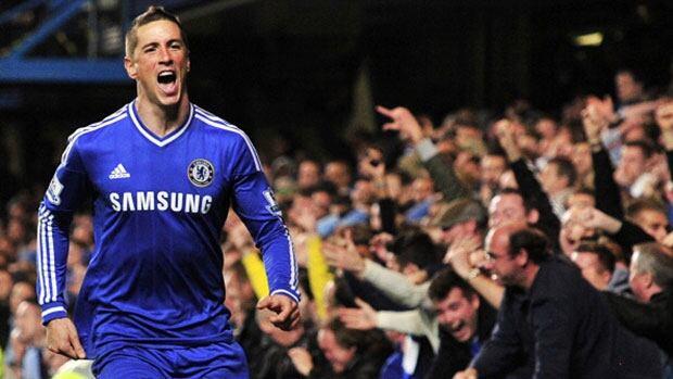 Chelsea's Spanish striker Fernando Torres celebrates scoring the winning goal against Manchester City at Stamford Bridge Sunday in west London.