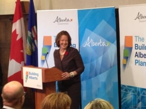 Premier Alison Redford speaks to Tory caucus