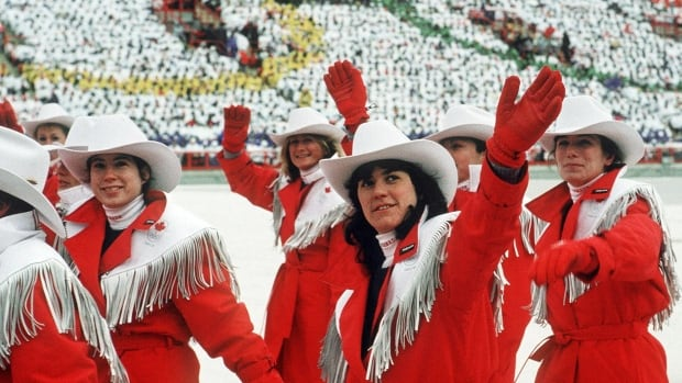 Canada's Olympic athletes participate in the opening ceremonies at the 1988 Winter Olympics in Calgary.