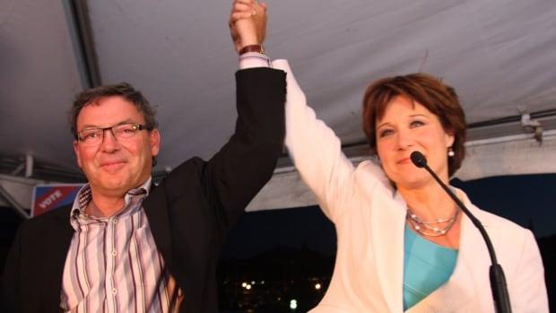 Former B.C. premier Christy Clark and MLA Ben Stewart celebrate Clark's win in a 2013 byelection in Kelowna, B.C.