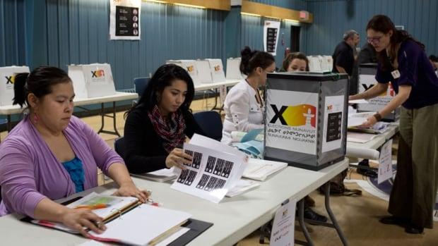 Election staff work at a polling station in Iqaluit on the day of the territorial election.