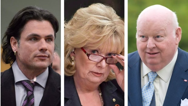 Sen. Patrick Brazeau, (L to R) Sen. Pamela Wallin and Sen. Mike Duffy are seen in this combination of three file photos. The Conservative government is moving in its 2014 budget to limit the three senators ability to collect a pension. Adrian Wyld/Canadian Press