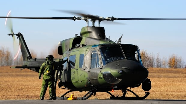 A Griffon CH-146 Canadian Forces helicopter, similar to this one, clipped the
