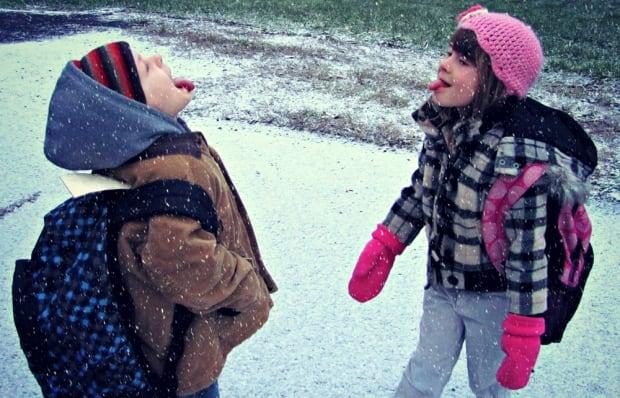 Children enjoying the snow (Oct. 30, 2013)