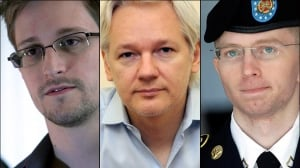 Edward Snowden, left, Julian Assange and Bradley Manning, right, are among the world's best-known contemporary whistleblowers. (Guardian/AP, Anthony Devlin/AP, Patrick Semansky/AP)