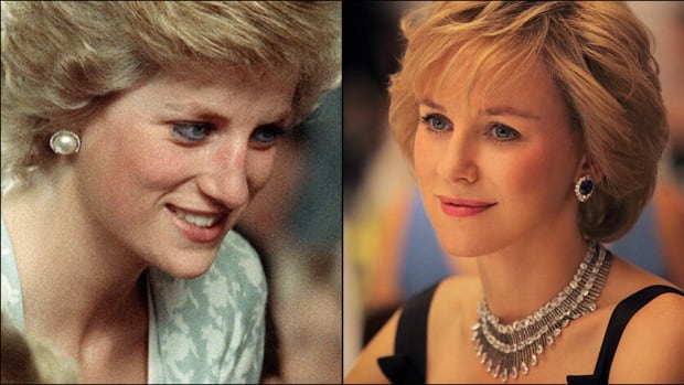 A composite shows Diana, Princess of Wales, during a 1989 visit to Jakarta, Indonesia, left, and as portrayed by actress Naomi Watts in the movie Diana that opens in North America today.
