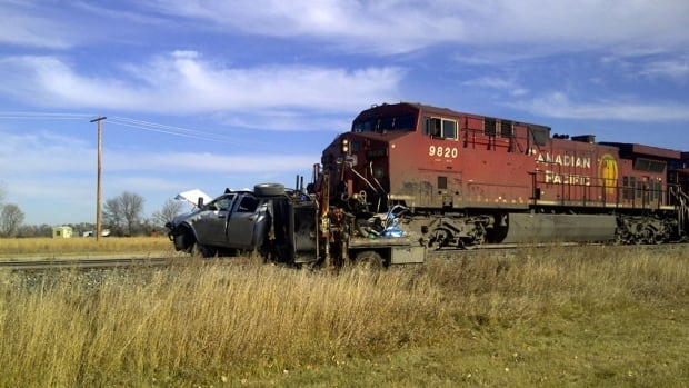 Two people were injured following a crash Thursday involving a pickup truck and train.
