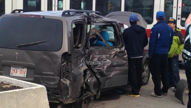 Officials say there were no injuries in a collision between a van and C-Train this afternoon.