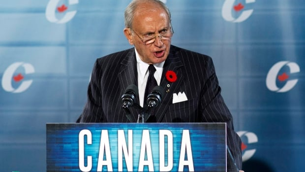 Conservative Senator Irving Gerstein, chair of the Conservative Fund, delivers a financial update to party members during the Conservative convention in Calgary Saturday. Gerstein told the delegates he told Nigel Wright the party wouldn't pay for Mike Duffy's disputed Senate expenses.