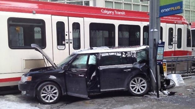 A vehicle slammed into a C-Train today near the Third Street west station.