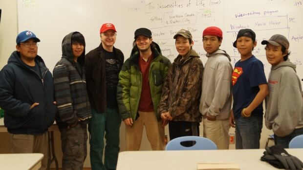 Eric Anoee Jr., far left, poses with members of the Arviat Film Society in Arviat.