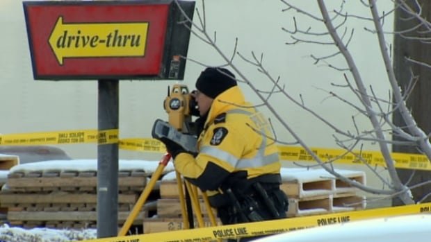 Police investigate a hit and run at a north Edmonton McDonald's restaurant where an elderly woman was run over by her own car after it was allegedly stolen.