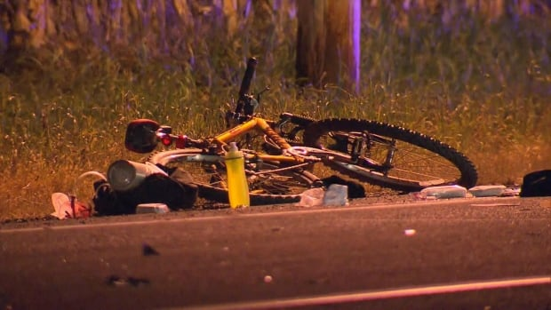 The cyclist did not seem to be wearing a helmet at the time of the accident.