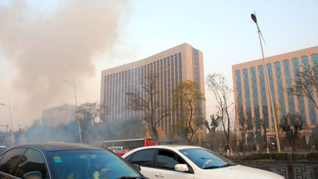 One person was killed and several injured in a series of small explosions Wednesday outside the provincial headquarters of the ruling Communist Party in the northern Chinese city of Taiyuan, officials said.