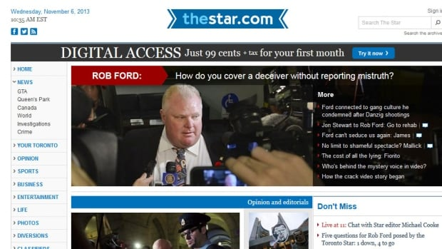 The home page of today's Toronto Star digital edition has the Rob Ford scandal story prominently displayed. Torstar said its print advertising has fallen 16 per cent in the quarter.