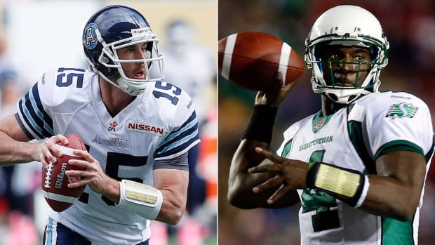 From left, quarterbacks Ricky Ray of the Argos and the Roughriders' Darian Durant from the list of CFL all-stars. Ray completed 77.2 per cent of his pass attempts while Durant threw for 4,154 yards and a league-leading 31 touchdowns.