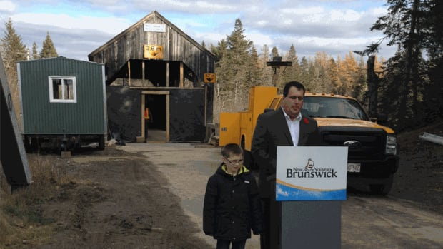 Charlotte-Campobello MLA Curtis Malloch announced the Maxwell Crossing covered bridge project on Wednesday with his son at his side.