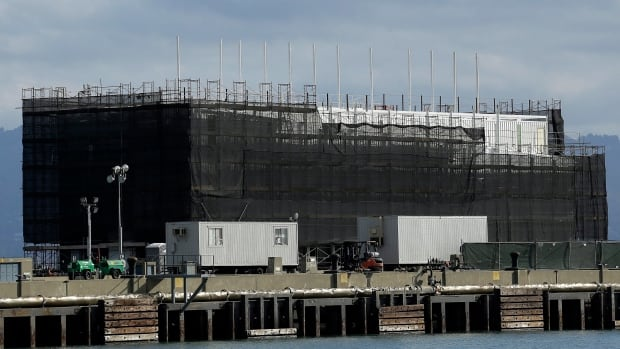 In this Oct. 29 photo, a barge is seen on Treasure Island in San Francisco. Google is erecting a four-storey structure in the heart of the San Francisco Bay but had managed to conceal its purpose by constructing it on docked barges instead of on land, where city building permits and public plans are mandatory.