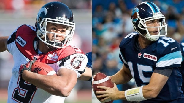 Stampeders running back Jon Cornish, left, and Argonauts quarterback Ricky Ray, right, are vying for CFL most outstanding player honours. The winner will be announced Nov. 21 in Regina.