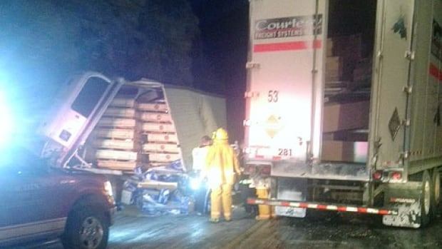 A 14-semi crash in northwestern Ontario, between Kenora and Vermillion Bay, has shut down the Trans-Canada Highway.