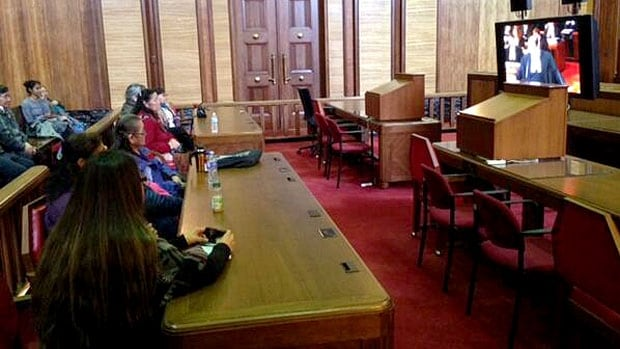 Tsilhqot'in elders watch the case in an overflow room at the Supreme Court of Canada in Ottawa on Thursday.