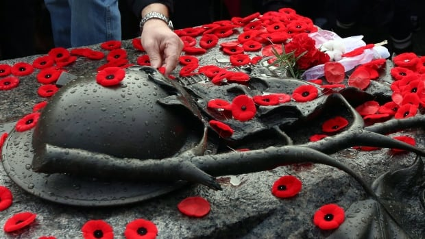 Members of the public place poppies on the Tomb of the Unknown Soldier at the National Remembrance Day ceremony in Ottawa on Sunday, November 11, 2012.