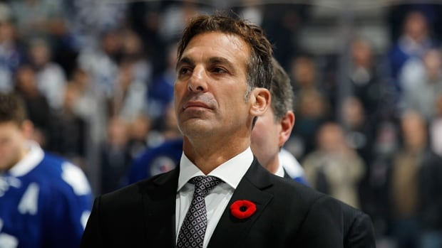 Chris Chelios, who will enter the Hockey Hall of Fame on Monday, is honoured prior to the game between the Toronto Maple Leafs and the New Jersey Devils at the Air Canada Centre on Friday.