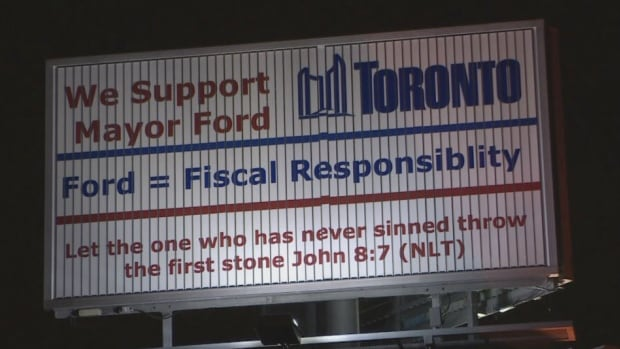 A pro-Rob Ford billboard was spotted Friday at the Gardiner and Islington. The City of Toronto says it is 'addressing' the unauthorized use of the City of Toronto logo in the advertisement for the mayor.