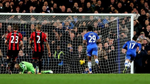 Eden Hazard of Chelsea turns away after scoring a late goal from the penalty spot to earn a 2-2 draw against West Bromwich Albion at Stamford Bridge on November 9, 2013 in London, England.