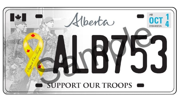 "Albertans will be able to order the new ""Support our Troops"" licence plates in early 2014."
