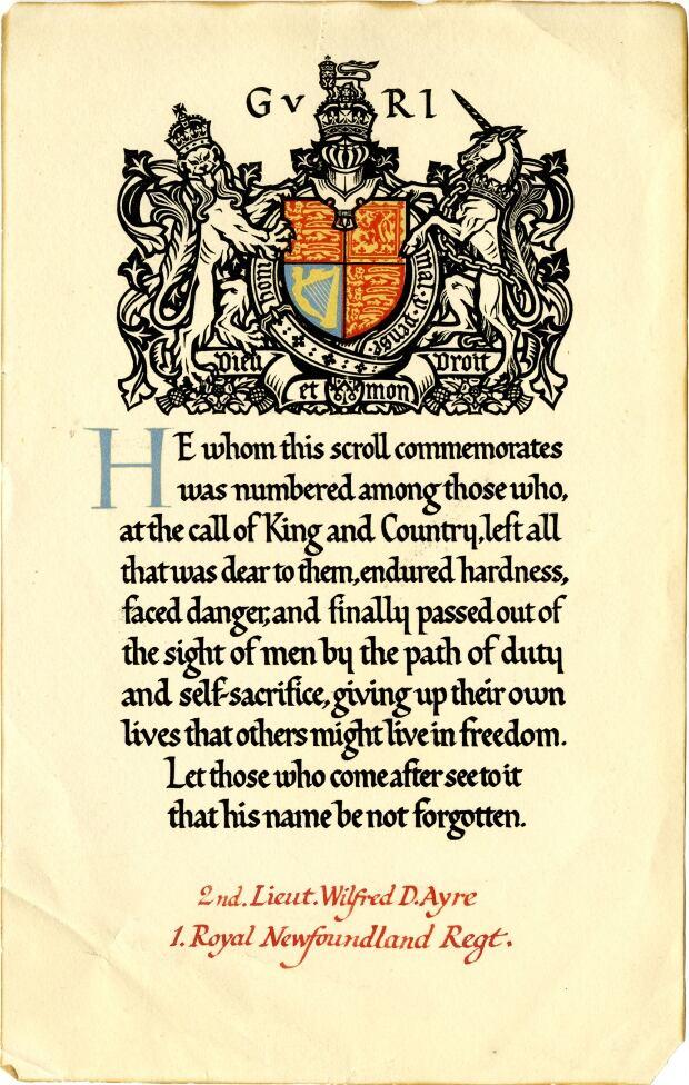 Wilfrid Ayre's memorial scroll