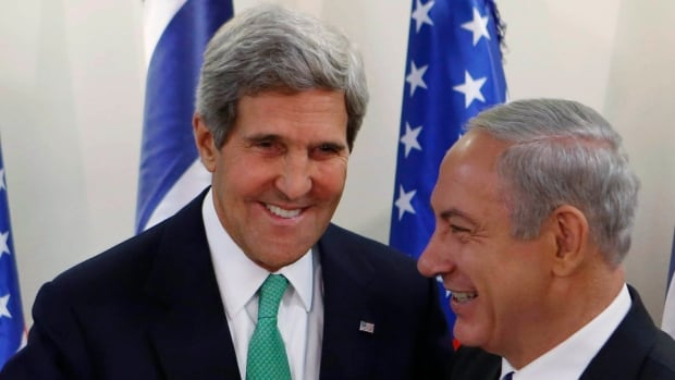 There's less laughter now: U.S. Secretary of State John Kerry, left, shakes hands with Israel's Prime Minister Benjamin Netanyahu in September. Last week, Netanyahu's hard line on Iran's nuclear program drew criticism from Kerry.