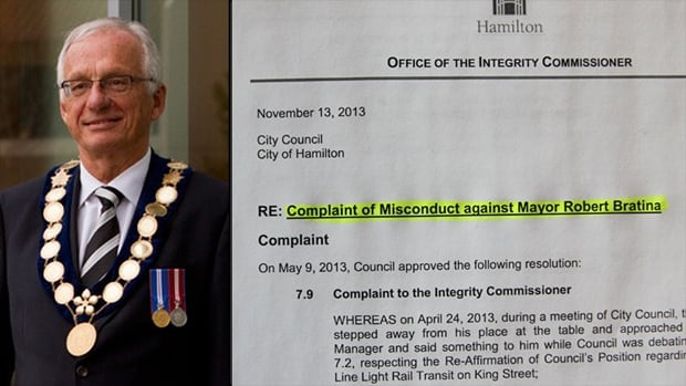 A report by Hamilton's integrity commissioner set to be released Wednesday says Mayor Bob Bratina didn't break council's code of conduct during an intense April debate.