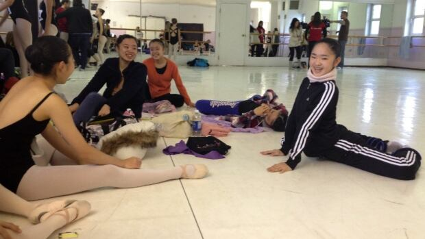 Ballet dancers prepare ahead of auditions today for Canada's National Ballet School.