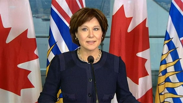 B.C. Premier Christy Clark announces plans for a joint Chinese-Japanese energy company to build an LNG plant at Grassy Narrows, which is near Prince Rupert, B.C., on Tuesday in Vancouver
