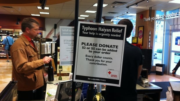 B.C. Liquor Stores are asking customers for $2 or $5 donations when they make their purchase. Proceeds go to the Red Cross.