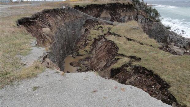 Damage incurred from Daniel's Harbour landslide on Nov. 5, 2013.
