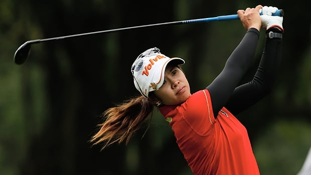 Pornanong Phatlum of Thailand hits her tee shot on the 17th hole during the first round of the Lorena Ochoa Invitational Presented by Banamex and Jalisco at the Guadalajara Country Club on Thursday.