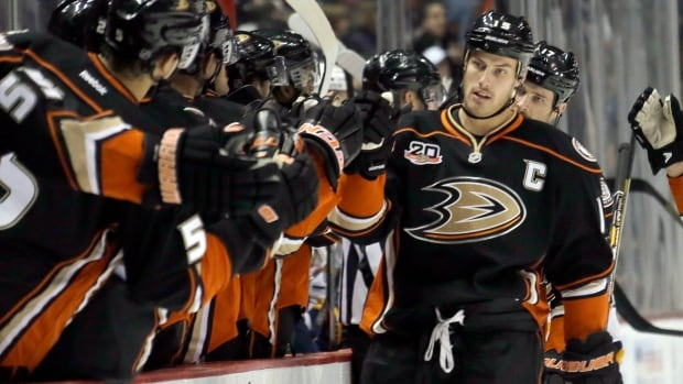 Anaheim Ducks centre Ryan Getzlaf has 10 goals and 12 assists in 18 games this season.