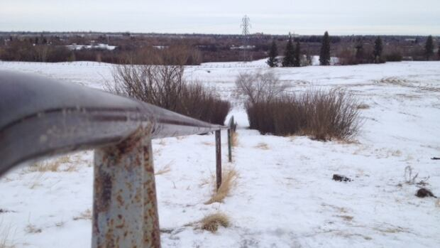 Looking down hill at Diefenbaker Park.