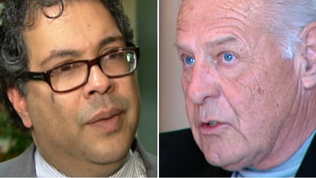 Calgary home builder Cal Wenzel, right, filed a defamation lawsuit against Mayor Naheed Nenshi on Nov. 13. Nenshi says Wenzel has not proven he has suffered any damages, so the case should be dismissed.